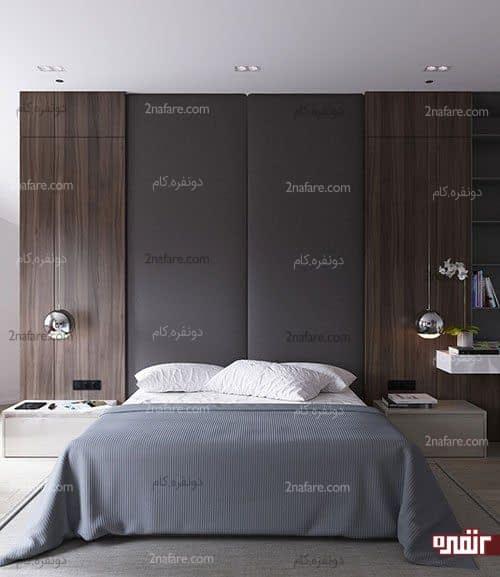 طراحی زیبای دیوار پشت تخت خواب در اتاق خواب مدرن