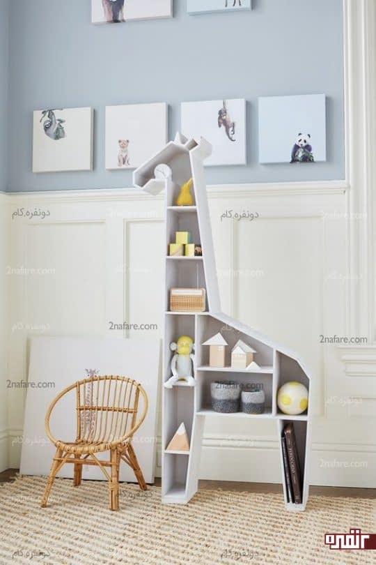 طراحی قفسه اتاق کودک بشکل زرافه