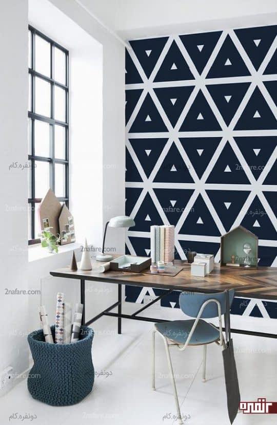 طرحی خاص و متفاوت از کاغذ دیواری برای اتاق کارهای کوچک