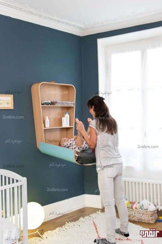 فضایی تزیینی و کاربردی برای تعویض پوشک و نگهداری از لوازم نوزاد