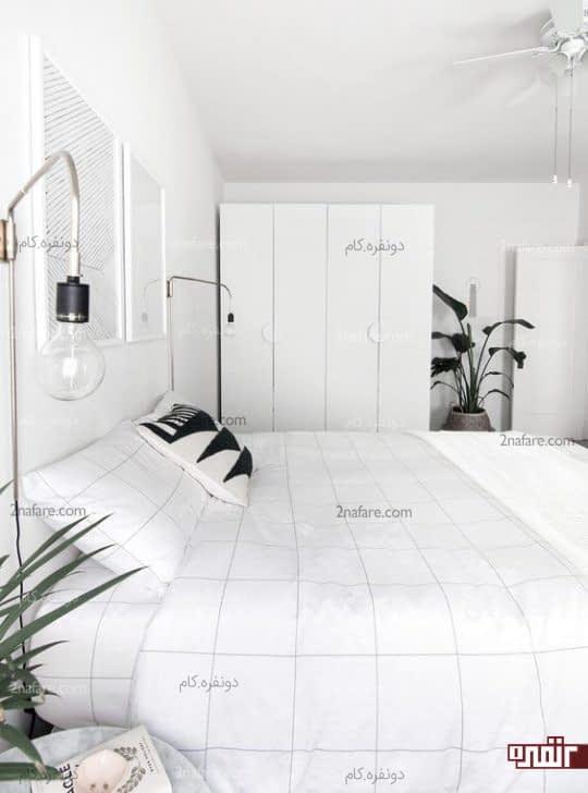 فضای سفید مینیمالیستی با گلدان های سبز برای اتاق خواب