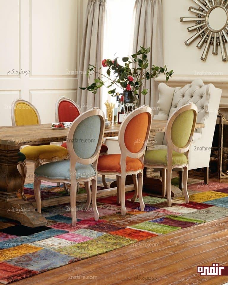 فضای غذاخوری با ترکیب رنگی زیبا و چشم نواز