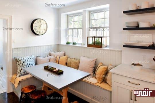 قراردادن میزغذاخوری در کنج آشپزخانه برای بازتر شدن فضا