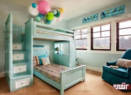 قفسه های تعبیه شده در پلکان تخت دو طبقه