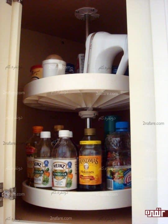 قفسه های چرخشی برای کابینت های کوچک و منج آشپزخانه