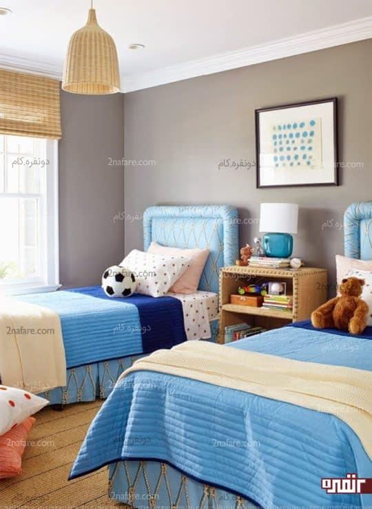 قهوه ای و آبی در اتاق خواب پسرانه دو تخته