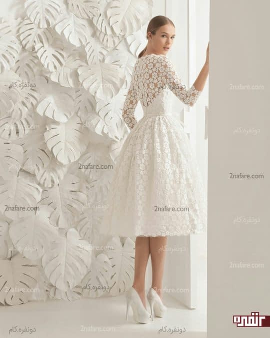 لباس ساده با گیپور برای مراسم عقد