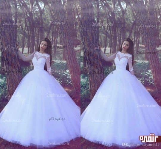 لباس عروس با دامن توری و بالا تنه آستین دار