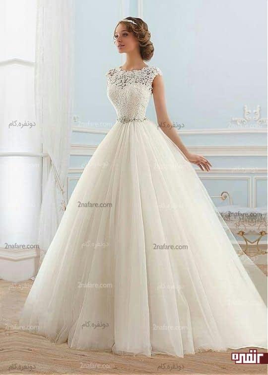 لباس عروس با دامن پفی توری