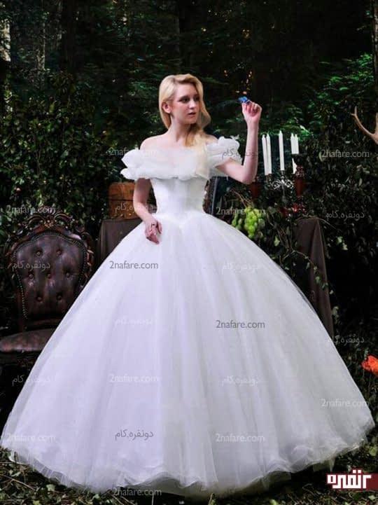 لباس عروس توری چین دار