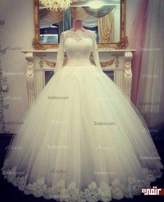 لباس عروس دامن توری حاشیه دار