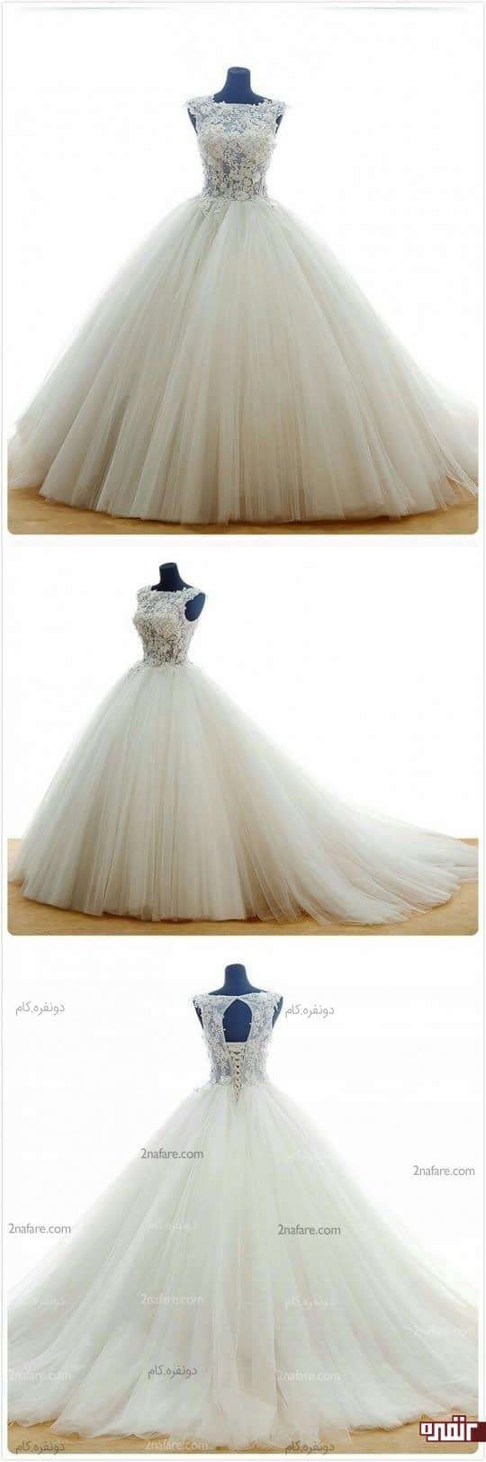 لباس عروس دامن توری و بالاتنه گیپور