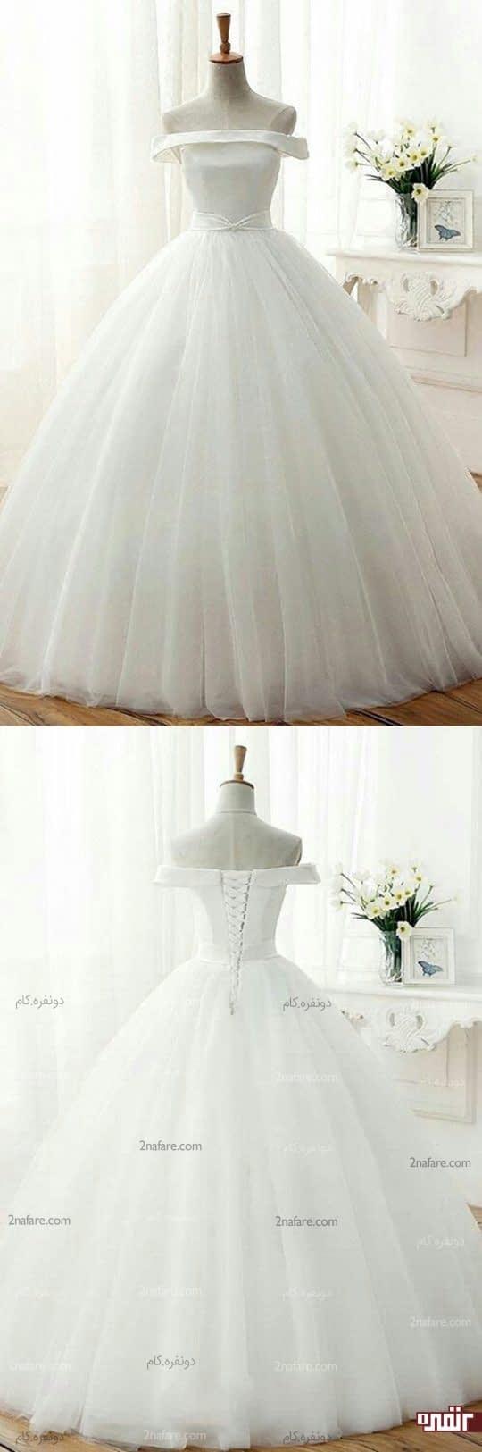 لباس عروس دامن پر چین توری