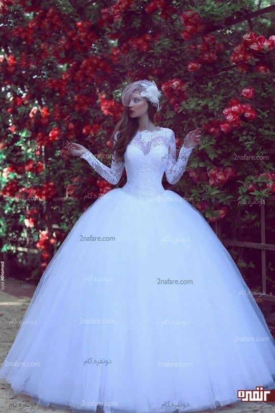 لباس عروس دامن پفی تور