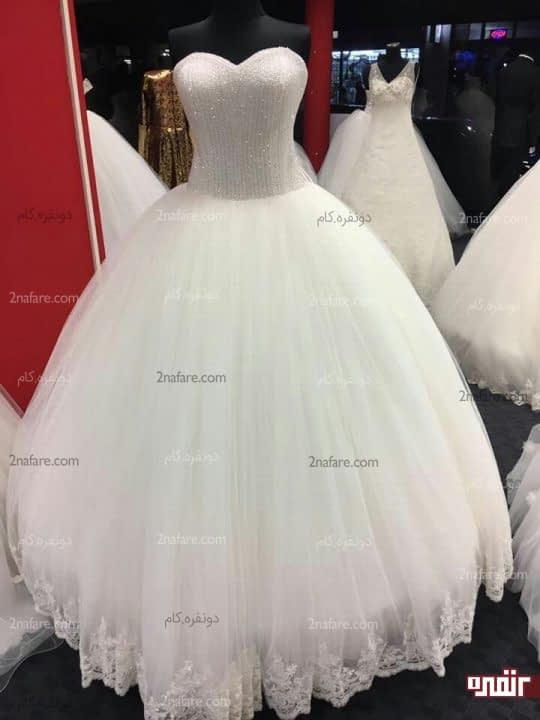 لباس عروس دکلته با دامن توری پف دار