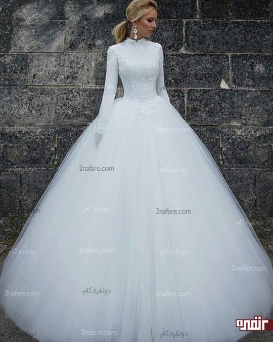 لباس عروس آستین بلند و دان چین دار