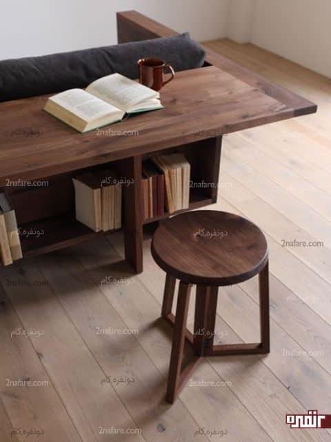 مبلمان و قفسه ای برای کتابها در پشت آن