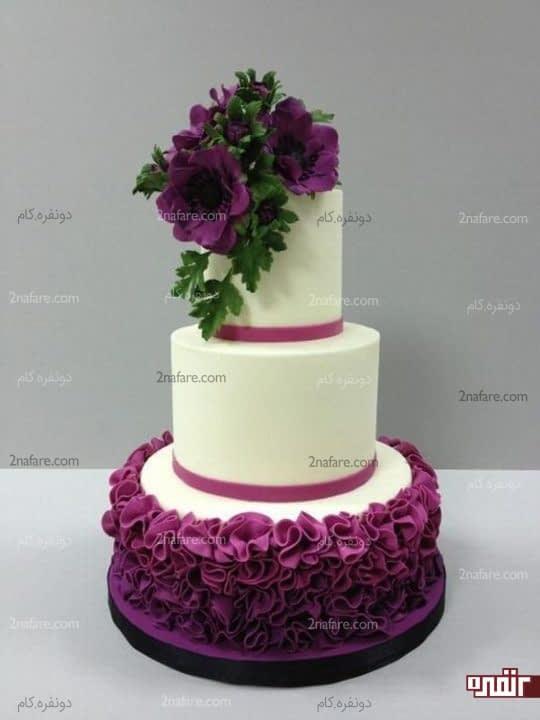 مدل کیک عروسی با تزیینات بنفش