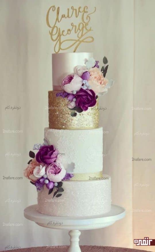 مدل کیک عروسی با تزیین گل های بنفش