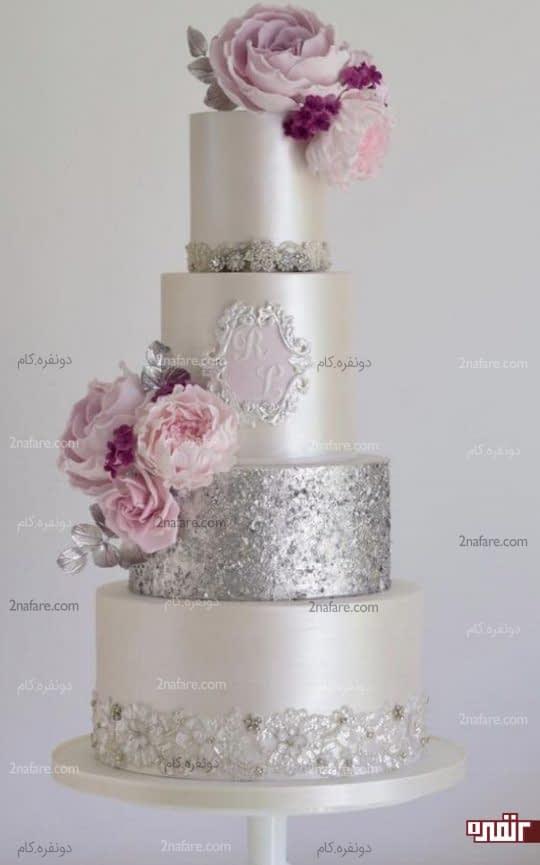 مدل کیک عروسی با سایه های بنفش و نقره ای