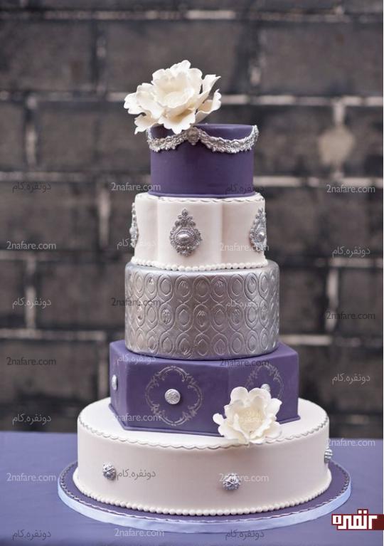 مدل کیک عروسی بنفش و نقره ای