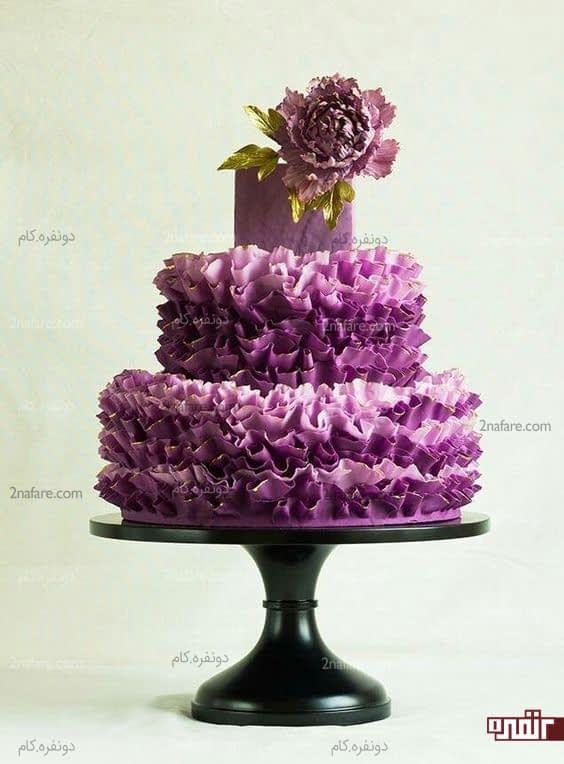 مدل های زیبای کیک عروسی به رنگ بنفش