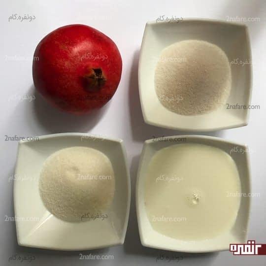 مواد لازم برای تهیه ژله انار لایه ای