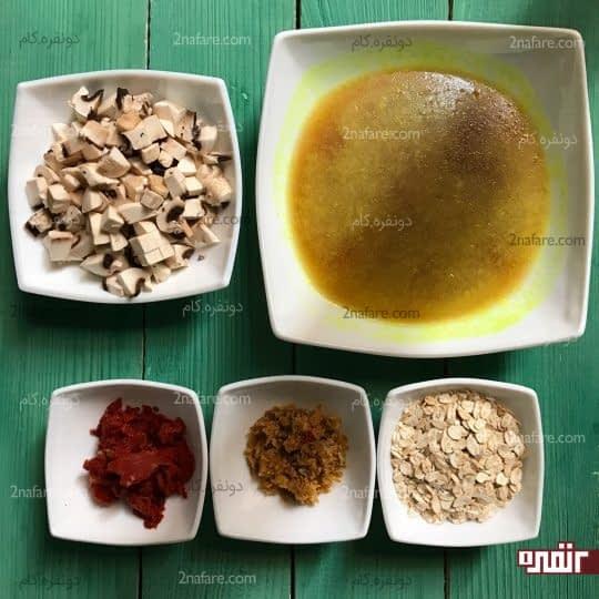 مواد لازم برای سوپ قارچ با روب گوجه