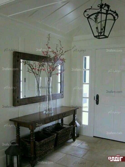 میز و آینه چوبی