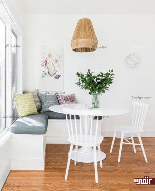 میز گرد سفید بعنوان میز ناهارخوری کنجی