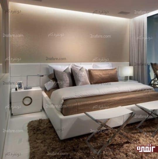 نورپردازی مخفی در قسمت سقف و پشت تخت خواب