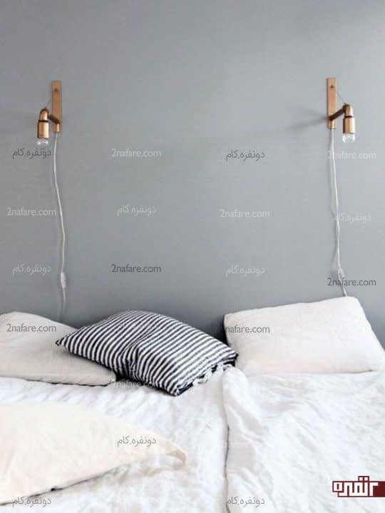 چراغ های دیواری نصب شده بالای تخت خواب