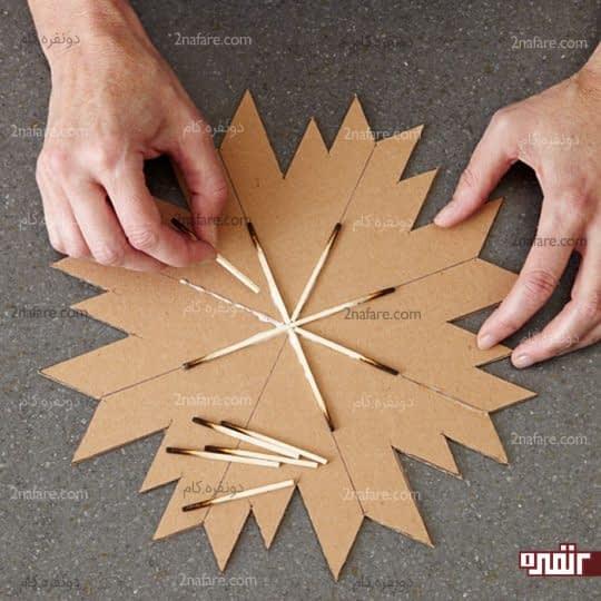 چسباندن کبریتها در مرکز ستاره