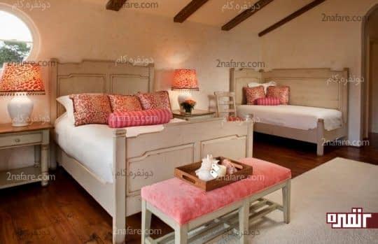 چیدمانی متفاوت و زیبا برای اتاق دو تخته ی دخترانه