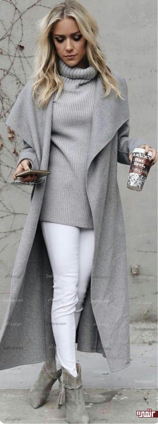 ژاکت بلند یقه پهن