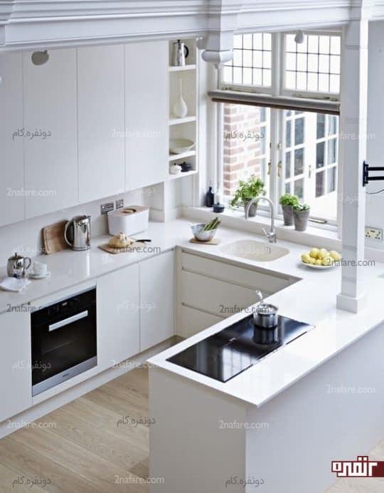 کابیت های بدون دستگیره در آشپزخونه های کوچیک