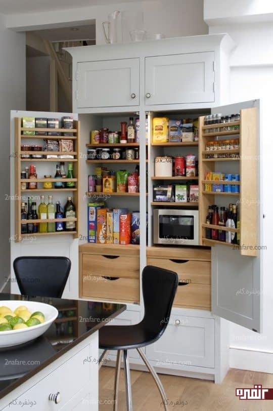 کابینتهای جادار با قفسه های متعدد برای آشپزخانه های کوچک