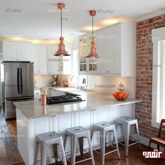 کابینتهای جادار و سفید در آشپزخانه های کوچک