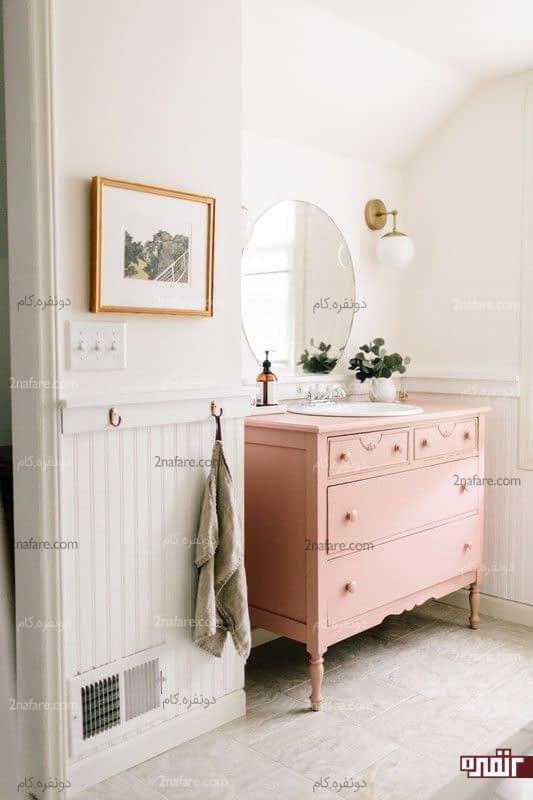 کابینت صورتی زیبا در سرویس بهداشتی