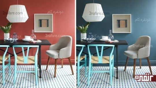 کاربرد رنگ های گرم و سرد در اتاق غذاخوری