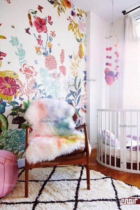 کاغذ دیواری با طرح گل برای اتاق کودک