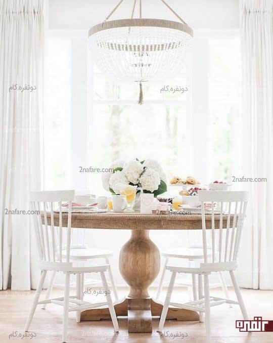 کنتراست زیبای میز گرد با دکور منزل