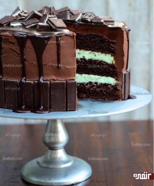 کیک تولد شکلاتی شیک و زیبا با تزیین شکلات