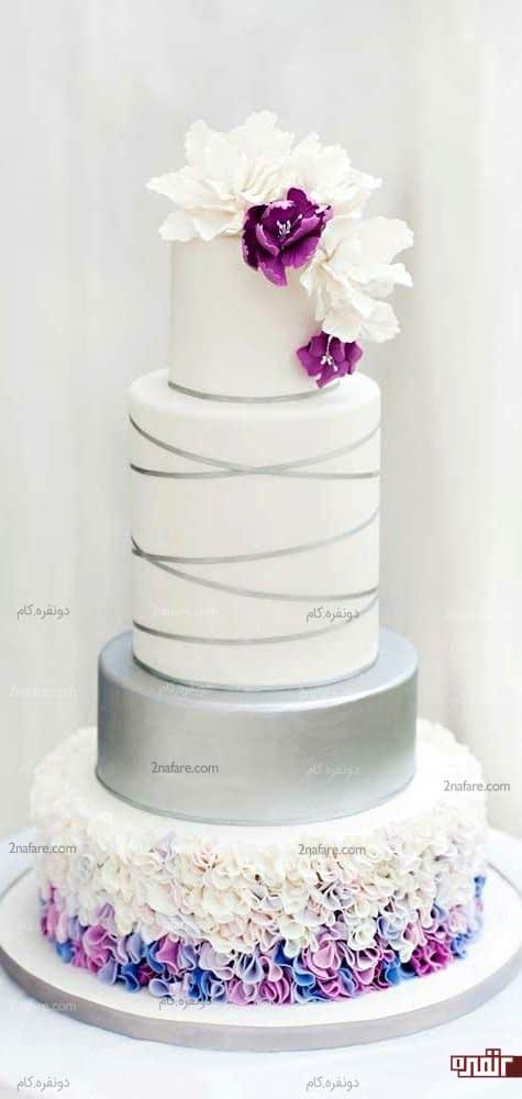 کیک عروسی بنفش و نقره ای