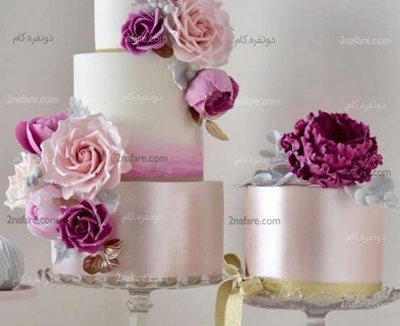 کیک عروسی زیبا و جذاب با روکش فوندانت و گل