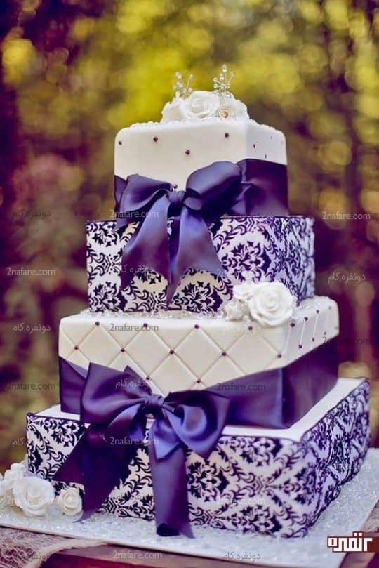 کیک عروسی فوق العاده زیبا به رنگ بنفش