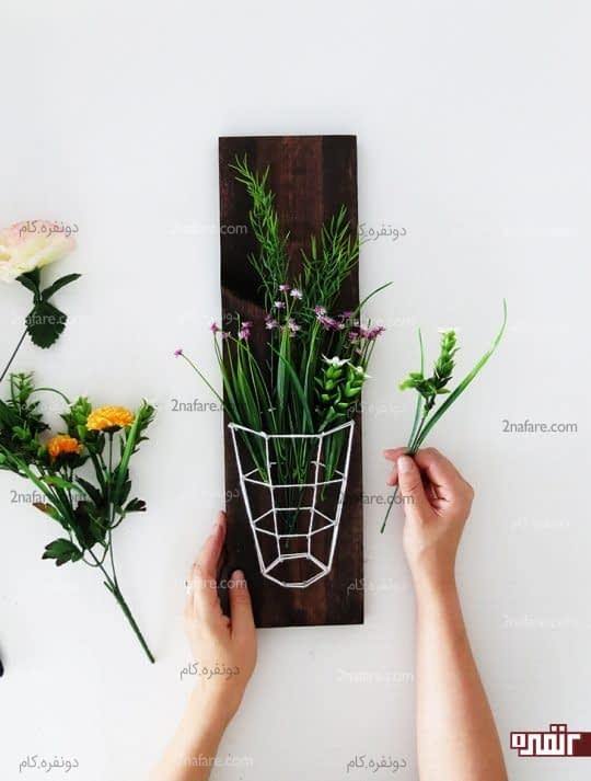 گلدان سه بعدی روی چوب