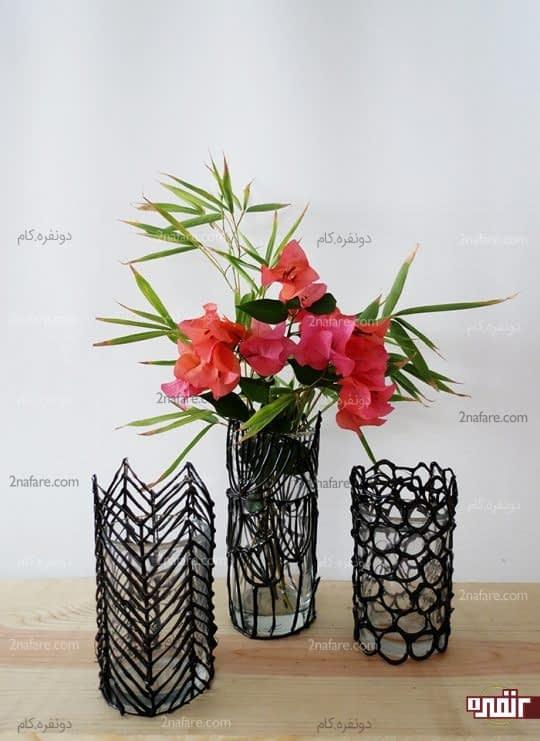 گلدان های زیبای شیشه ای با شیشه و چسب حرارتی
