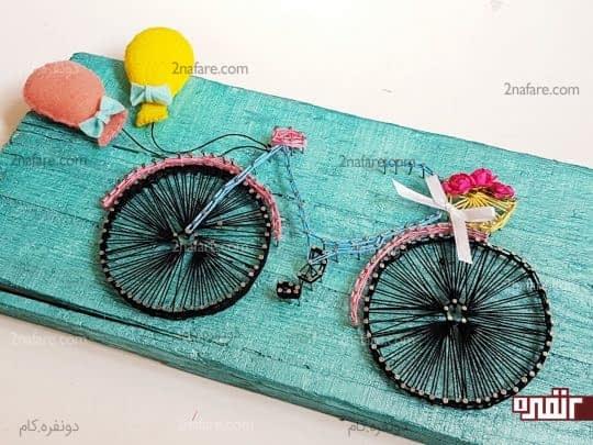 ساخت تابلوی میخی با طرح دوچرخه