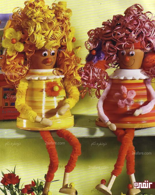 عروسک گلدونی خانومای مو فرفری